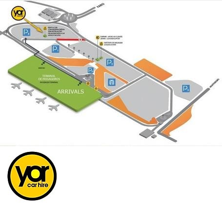Algarve car hire - Faro Airport desk map with logo